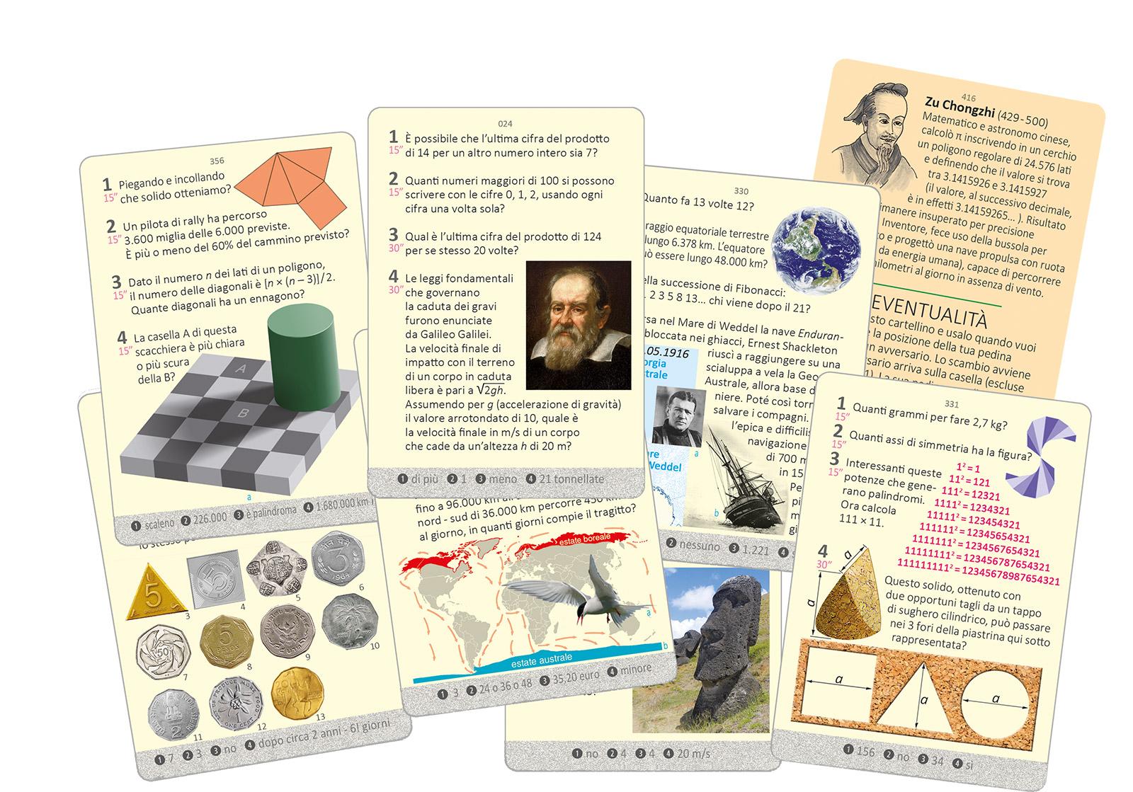 Esempio di cartellini gioco Mathematicus