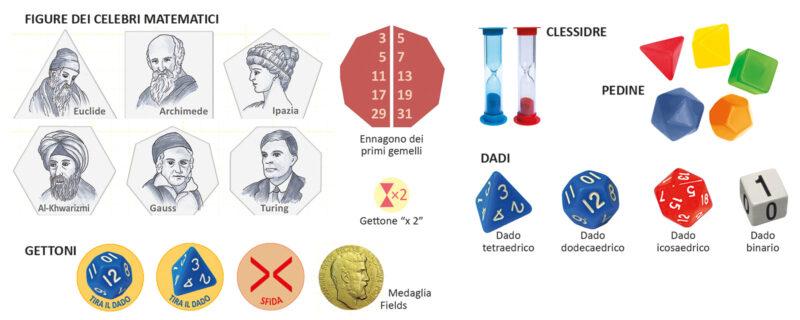 Dadi, clessidre, pedine, gettoni, figure dei celebri matematici del gioco Mathmaticus